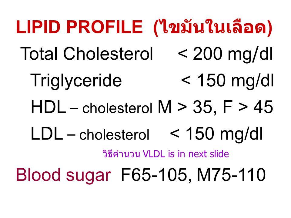 LIPID PROFILE (ไขมันในเลือด) Total Cholesterol < 200 mg/dl