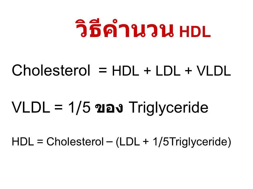 วิธีคำนวน HDL Cholesterol = HDL + LDL + VLDL