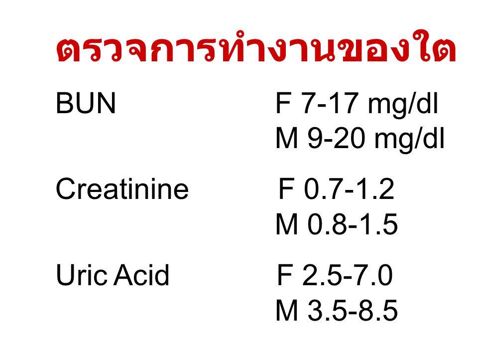 ตรวจการทำงานของใต BUN F 7-17 mg/dl M 9-20 mg/dl Creatinine F 0.7-1.2