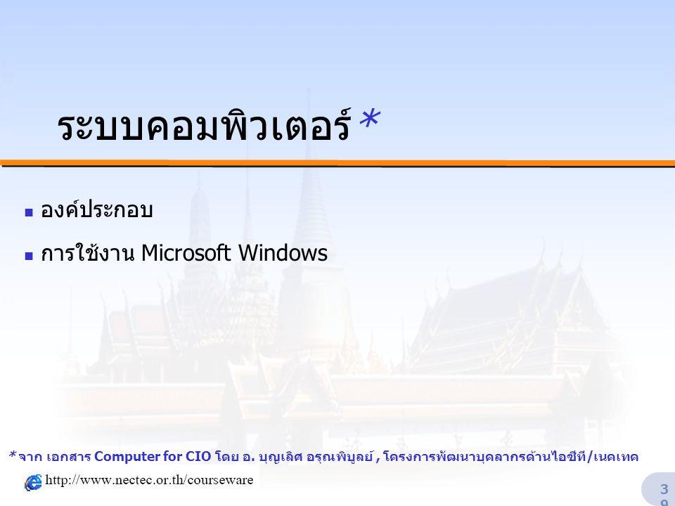 องค์ประกอบ การใช้งาน Microsoft Windows