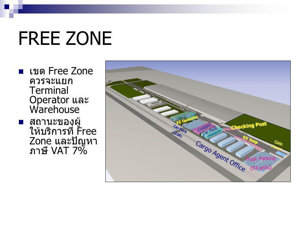 FREE ZONE เขต Free Zone ควรจะแยก Terminal Operator และ Warehouse