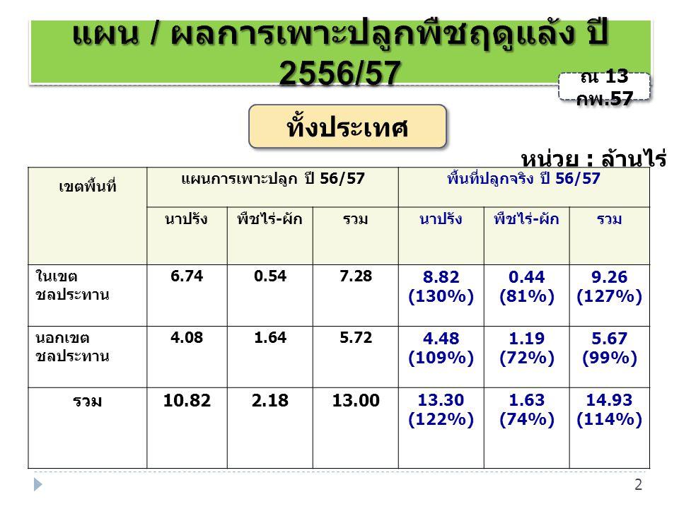 แผน / ผลการเพาะปลูกพืชฤดูแล้ง ปี 2556/57