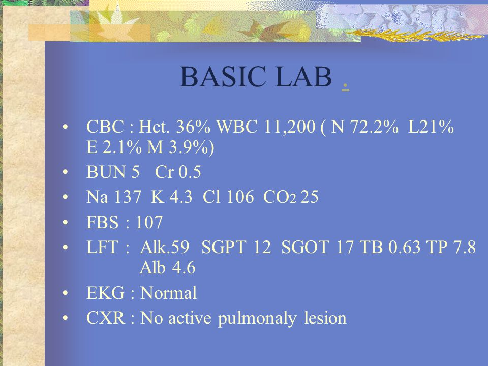 BASIC LAB . CBC : Hct. 36% WBC 11,200 ( N 72.2% L21% E 2.1% M 3.9%)