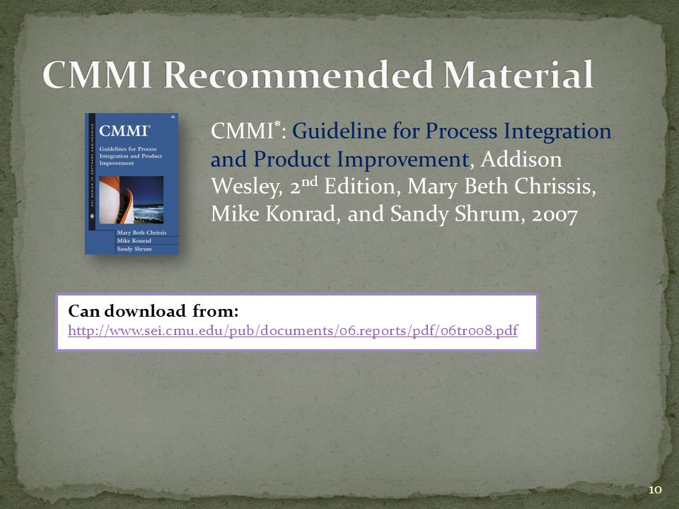 CMMI Recommended Material