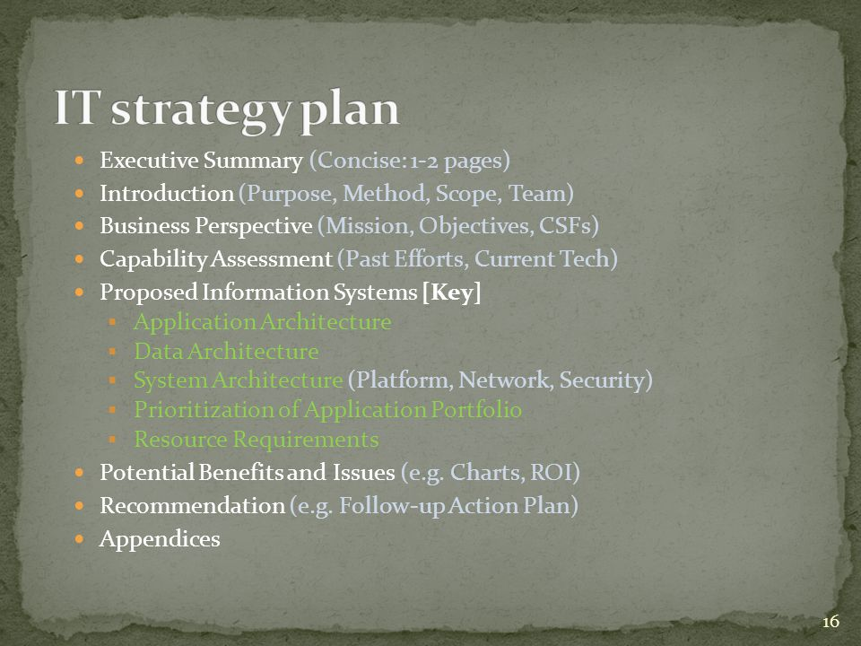 IT strategy plan Executive Summary (Concise: 1-2 pages)