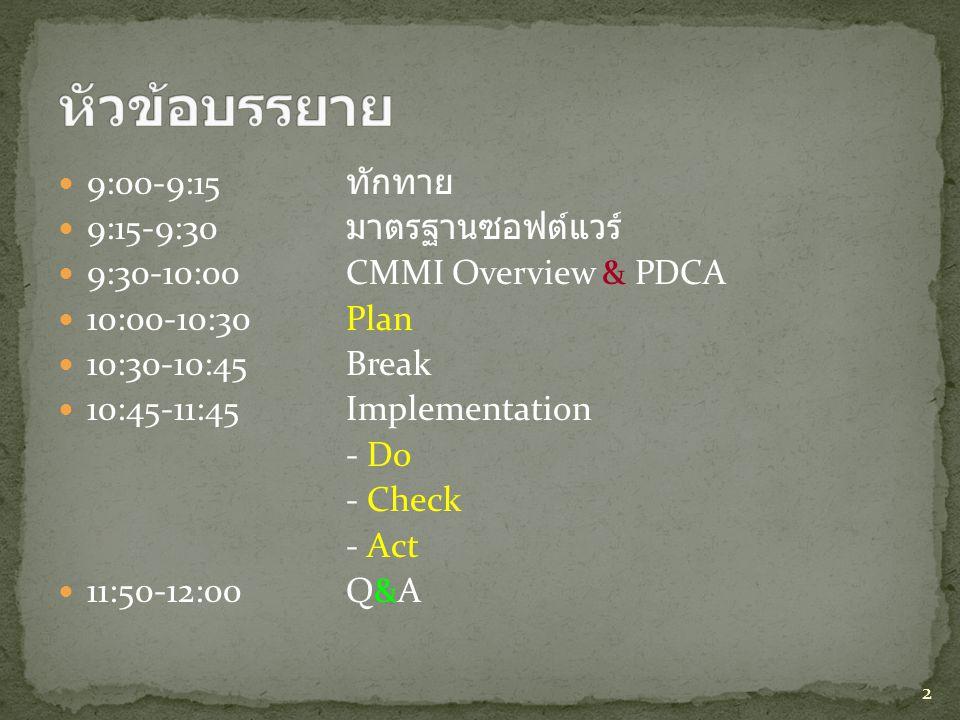 หัวข้อบรรยาย 9:00-9:15 ทักทาย 9:15-9:30 มาตรฐานซอฟต์แวร์