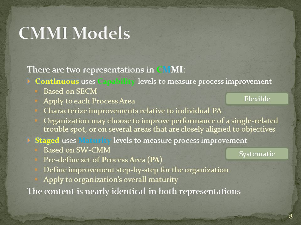 CMMI Models There are two representations in CMMI:
