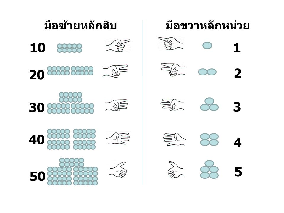 มือซ้ายหลักสิบ มือขวาหลักหน่วย 10 1 20 2 30 3 40 4 5 50