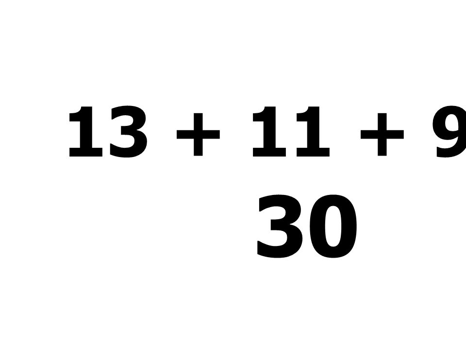 13 + 11 + 9 - 3 = 30