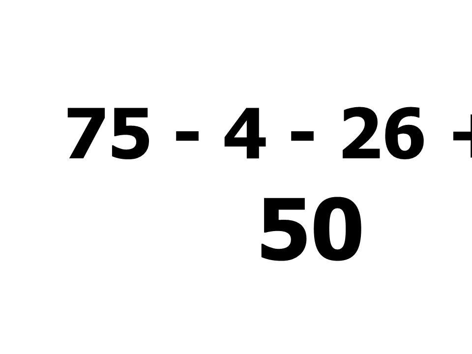 75 - 4 - 26 + 5 = 50