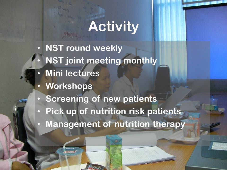 Activity NST round weekly NST joint meeting monthly Mini lectures