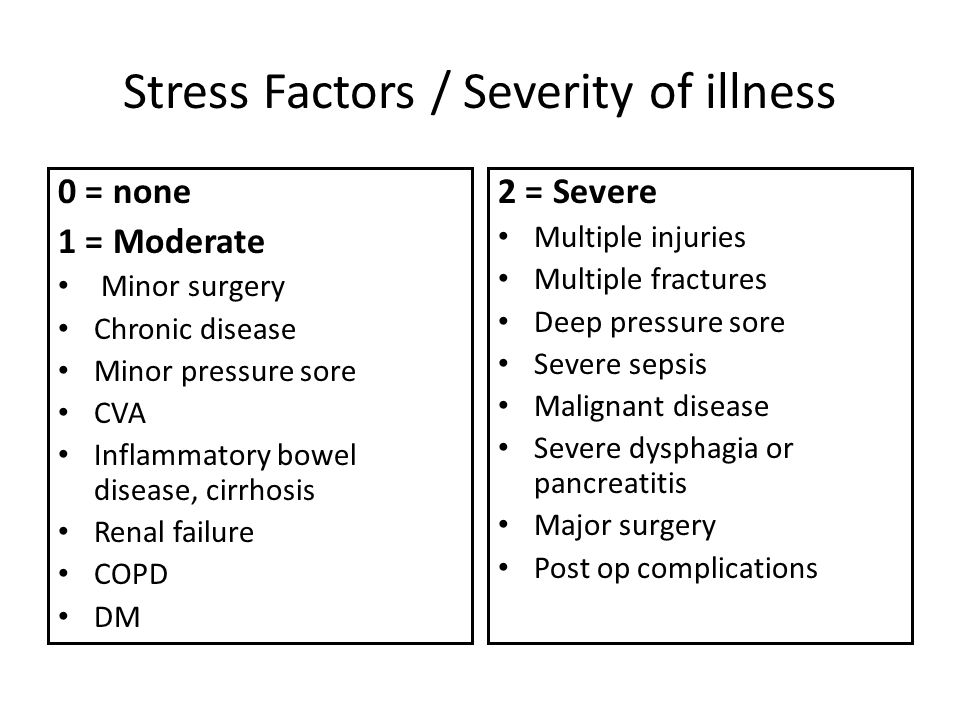 Stress Factors / Severity of illness
