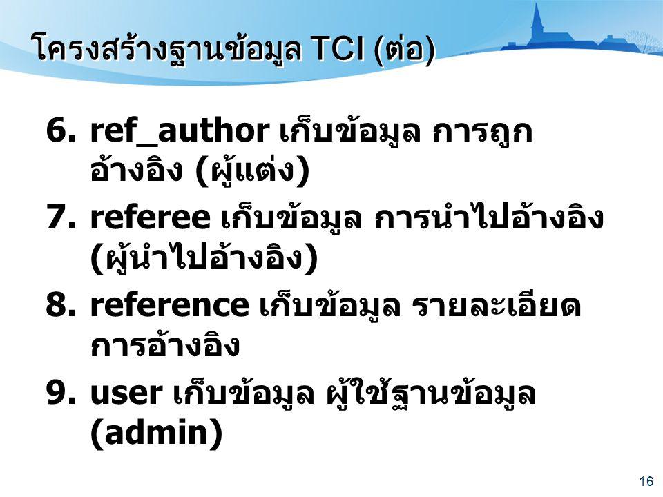 โครงสร้างฐานข้อมูล TCI (ต่อ)