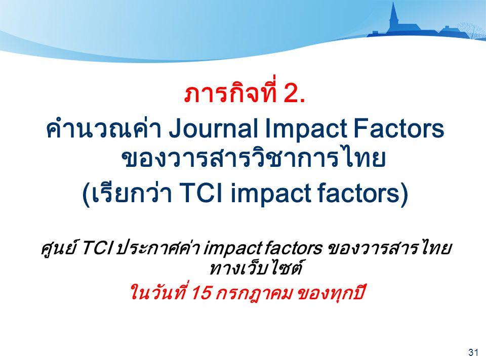 คำนวณค่า Journal Impact Factors ของวารสารวิชาการไทย