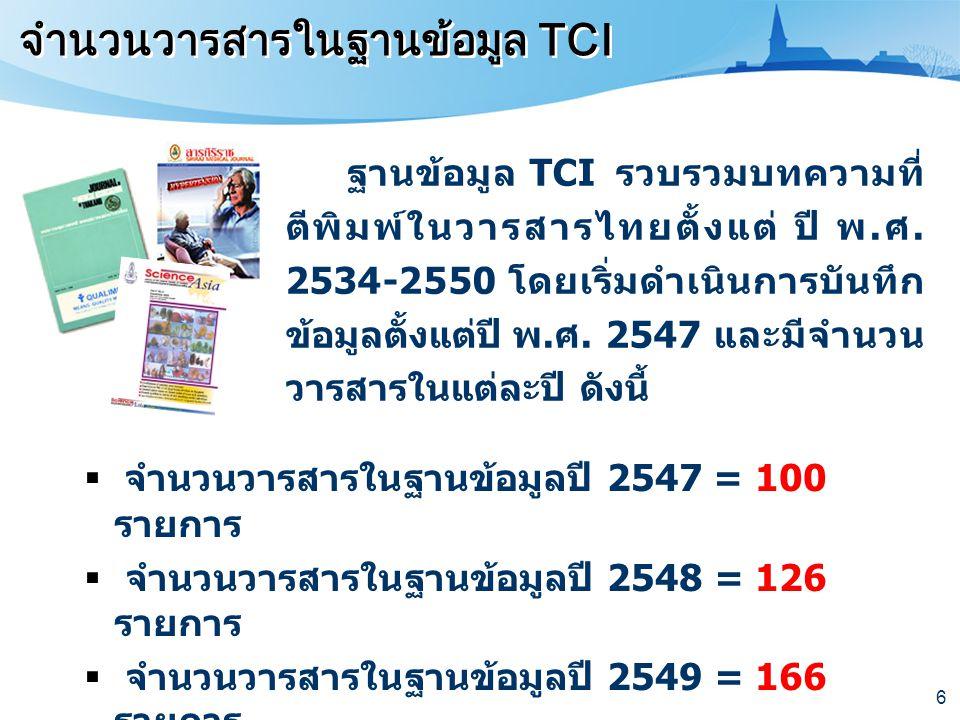 จำนวนวารสารในฐานข้อมูล TCI