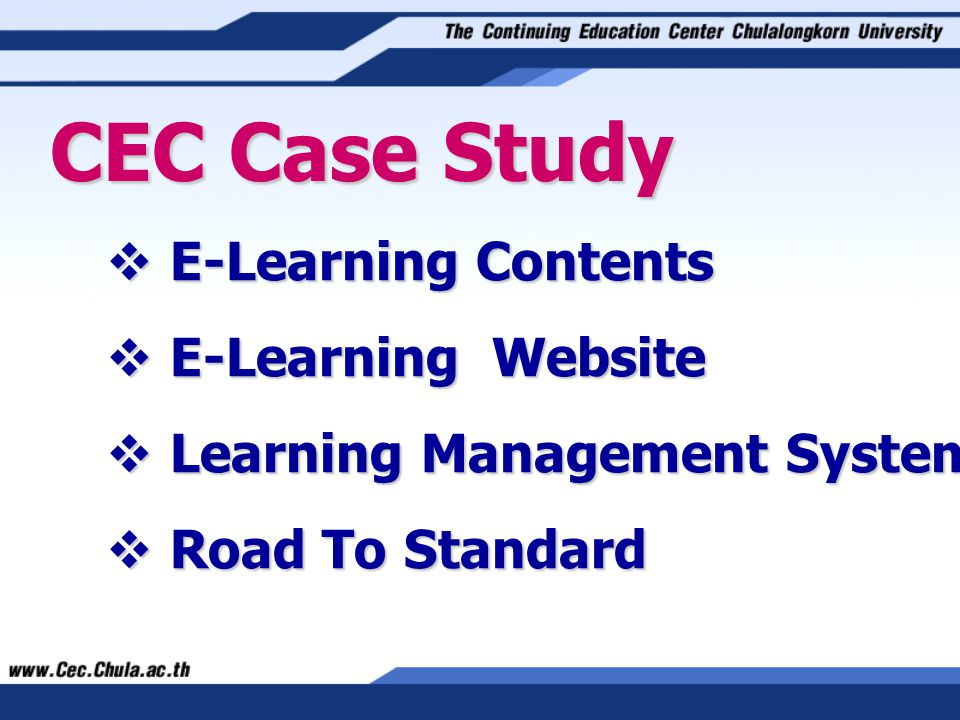 CEC Case Study E-Learning Contents E-Learning Website