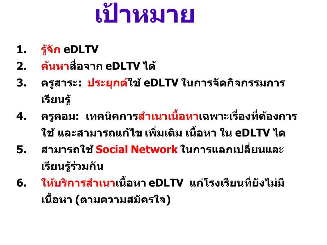 เป้าหมาย รู้จัก eDLTV ค้นหาสื่อจาก eDLTV ได้