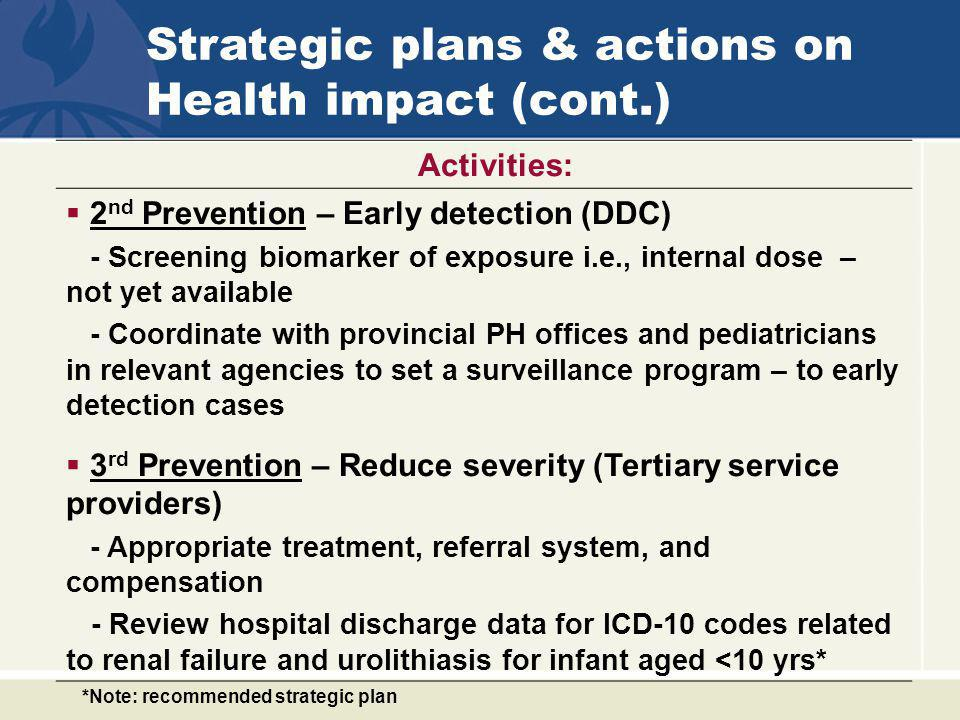 Strategic plans & actions on Health impact (cont.)