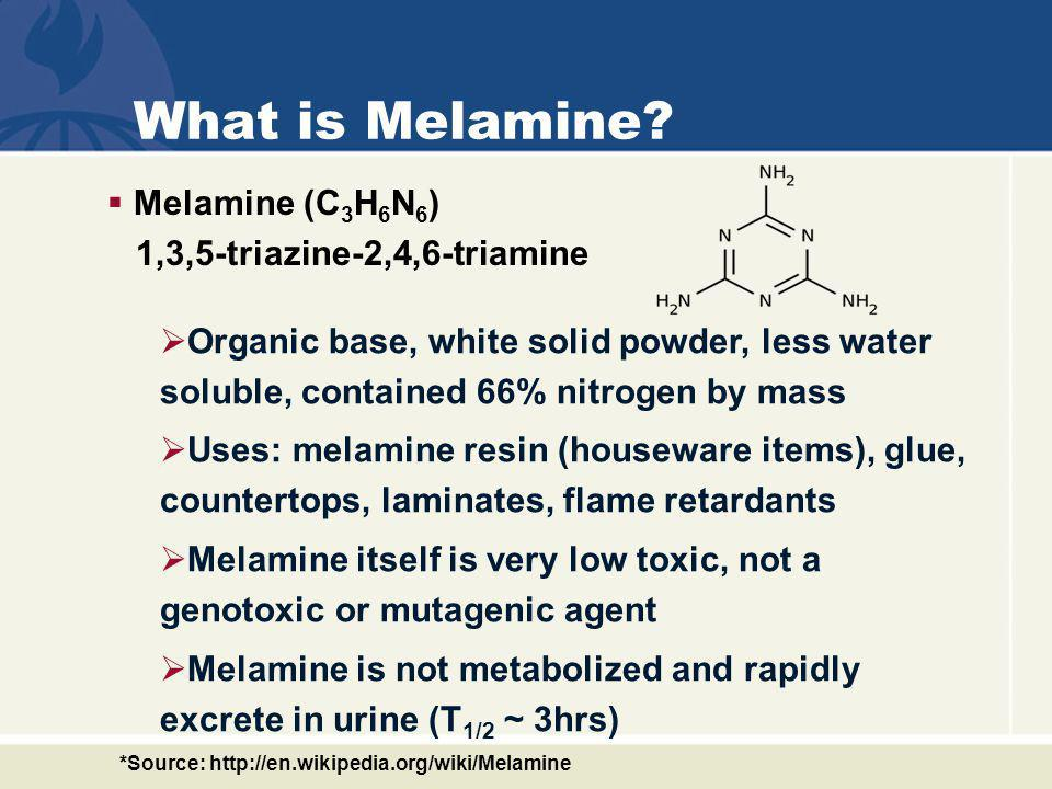 What is Melamine Melamine (C3H6N6) 1,3,5-triazine-2,4,6-triamine