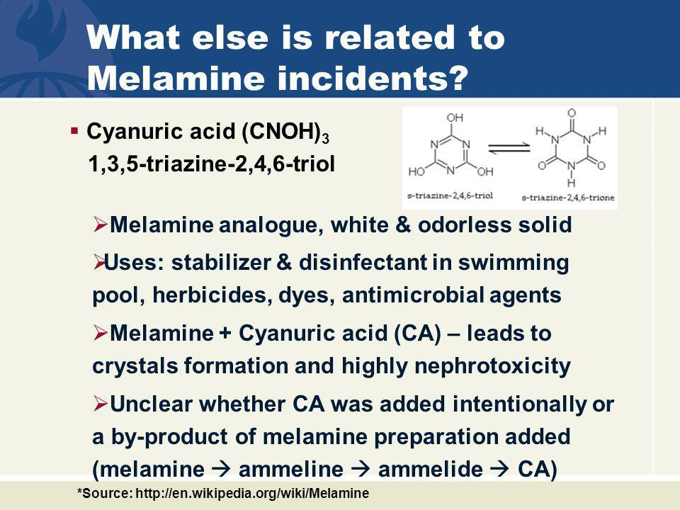 What else is related to Melamine incidents