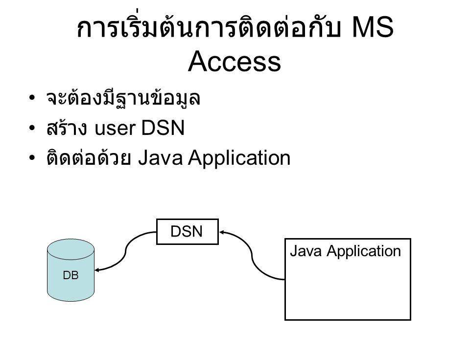 การเริ่มต้นการติดต่อกับ MS Access