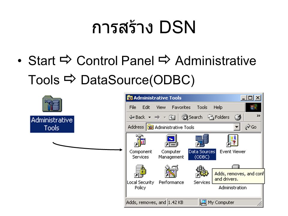 การสร้าง DSN Start  Control Panel  Administrative Tools  DataSource(ODBC)