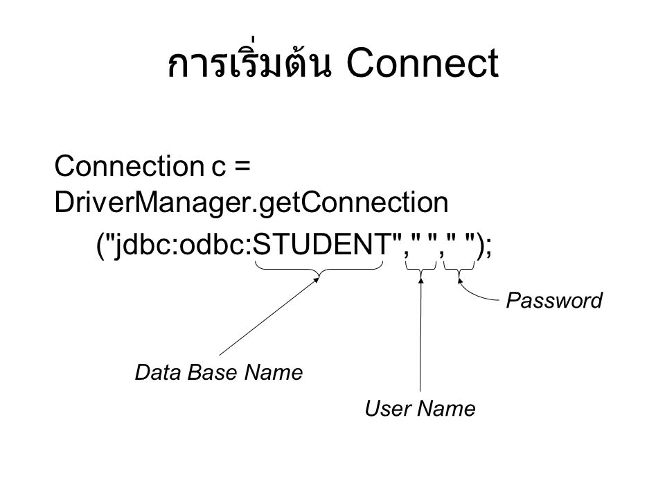 การเริ่มต้น Connect Connection c = DriverManager.getConnection
