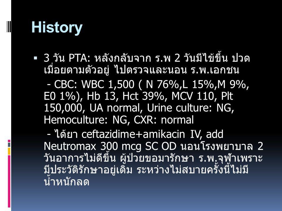 History 3 วัน PTA: หลังกลับจาก ร.พ 2 วันมีไข้ขึ้น ปวด เมื่อยตามตัวอยู่ ไปตรวจและนอน ร.พ.เอกชน.