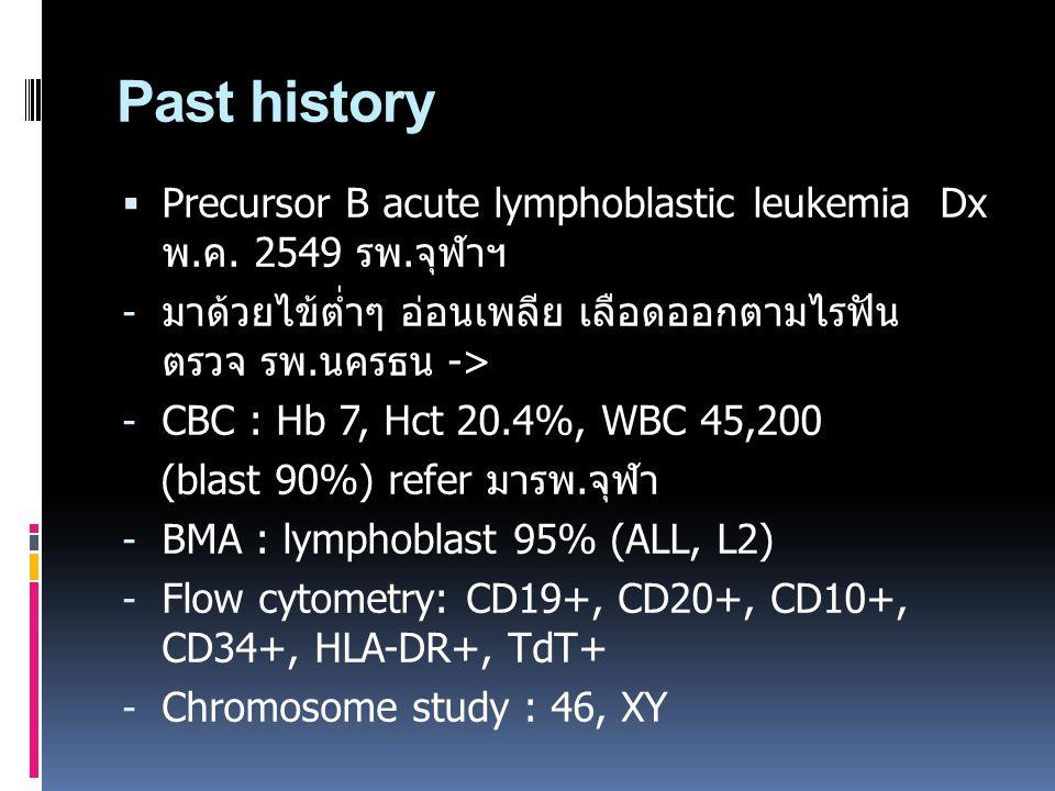 Past history Precursor B acute lymphoblastic leukemia Dx พ.ค. 2549 รพ.จุฬาฯ. มาด้วยไข้ต่ำๆ อ่อนเพลีย เลือดออกตามไรฟัน ตรวจ รพ.นครธน ->