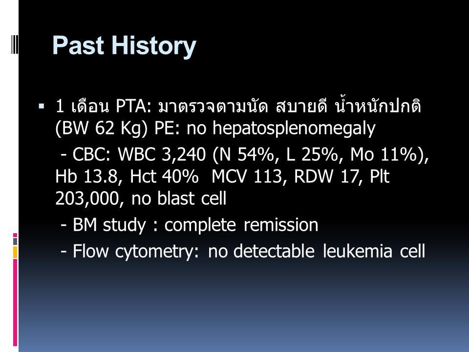 Past History 1 เดือน PTA: มาตรวจตามนัด สบายดี น้ำหนักปกติ (BW 62 Kg) PE: no hepatosplenomegaly.