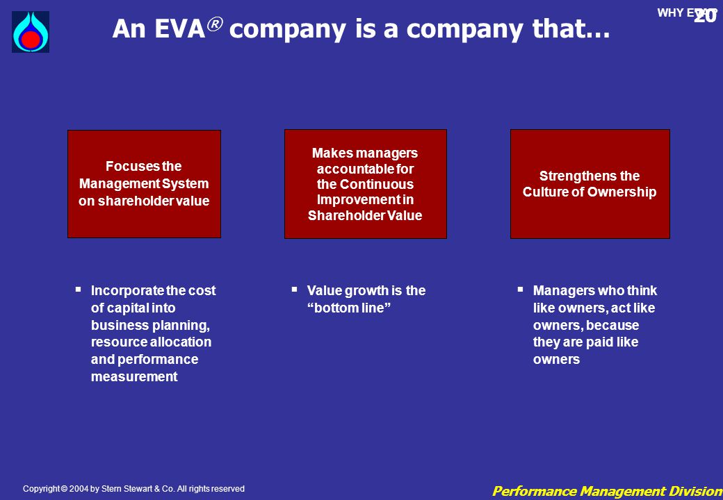An EVA® company is a company that…