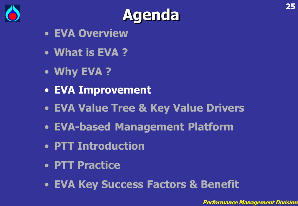 Agenda EVA Overview What is EVA Why EVA EVA Improvement