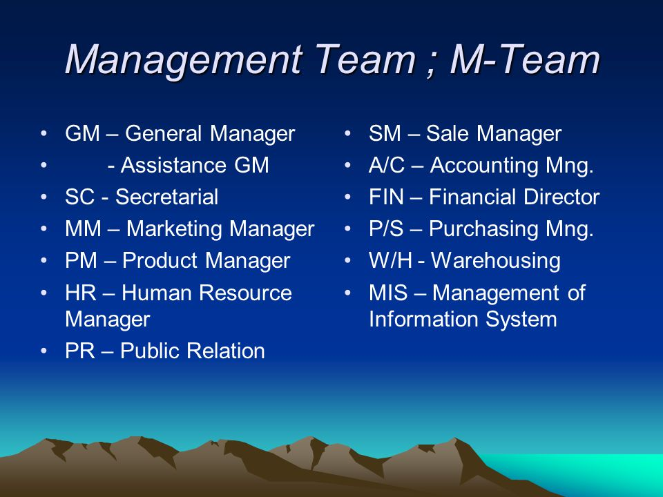 Management Team ; M-Team