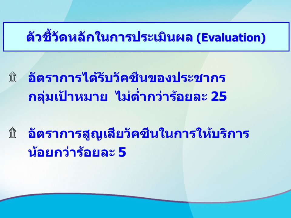 ตัวชี้วัดหลักในการประเมินผล (Evaluation)