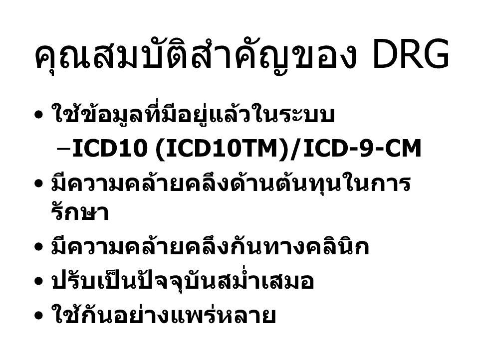 คุณสมบัติสำคัญของ DRG