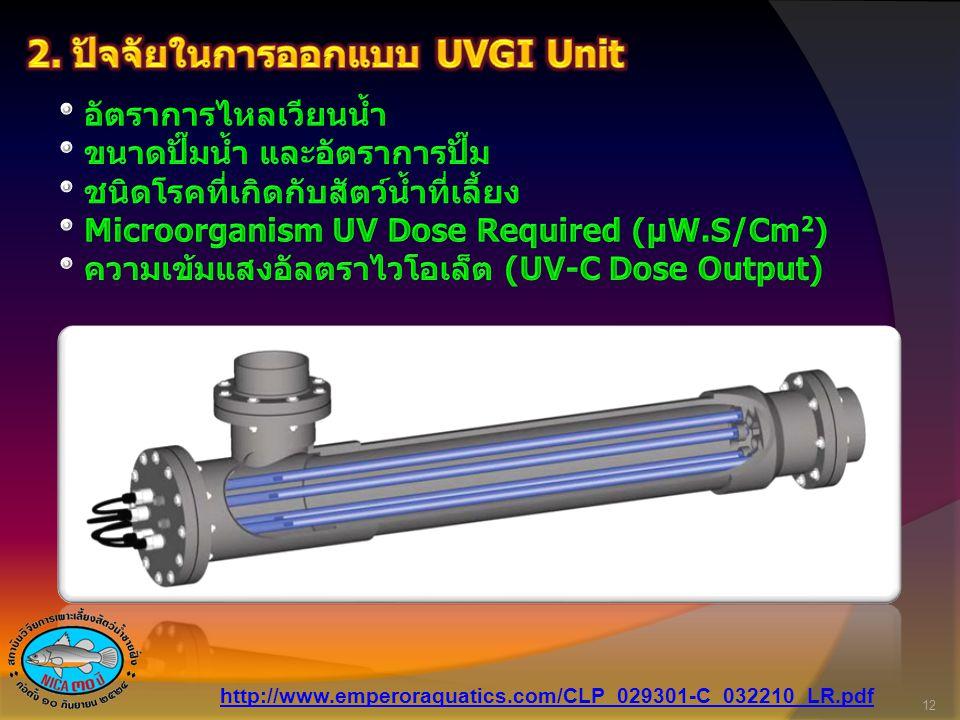 2. ปัจจัยในการออกแบบ UVGI Unit