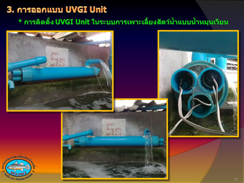 3. การออกแบบ UVGI Unit การติดตั้ง UVGI Unit ในระบบการเพาะเลี้ยงสัตว์น้ำแบบน้ำหมุนเวียน