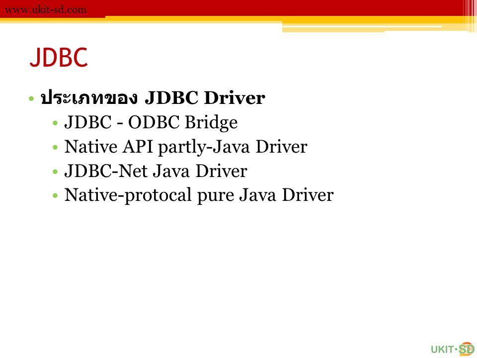 JDBC ประเภทของ JDBC Driver JDBC - ODBC Bridge