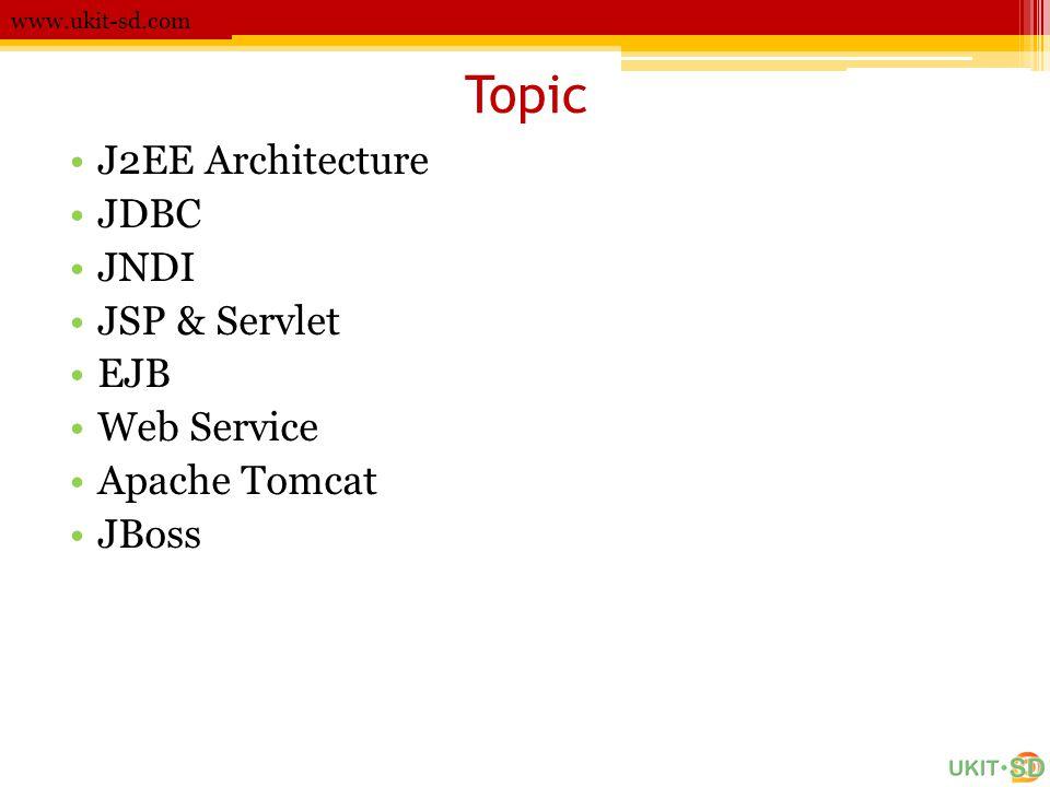 Topic J2EE Architecture JDBC JNDI JSP & Servlet EJB Web Service