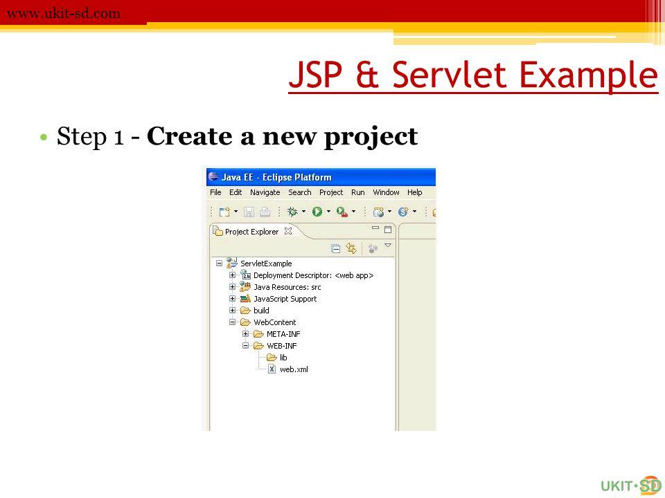 www.ukit-sd.com JSP & Servlet Example Step 1 - Create a new project