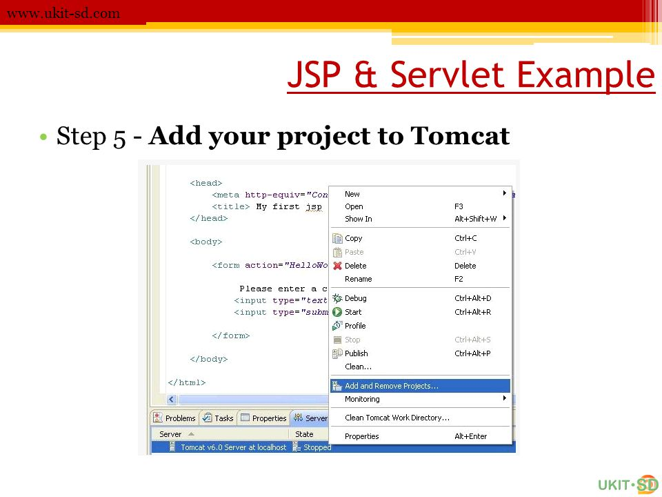JSP & Servlet Example Step 5 - Add your project to Tomcat