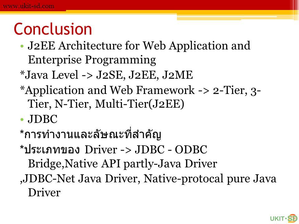 www.ukit-sd.com Conclusion. J2EE Architecture for Web Application and Enterprise Programming. *Java Level -> J2SE, J2EE, J2ME.
