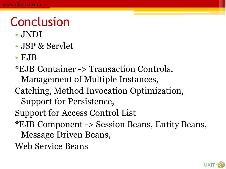 Conclusion JNDI JSP & Servlet EJB