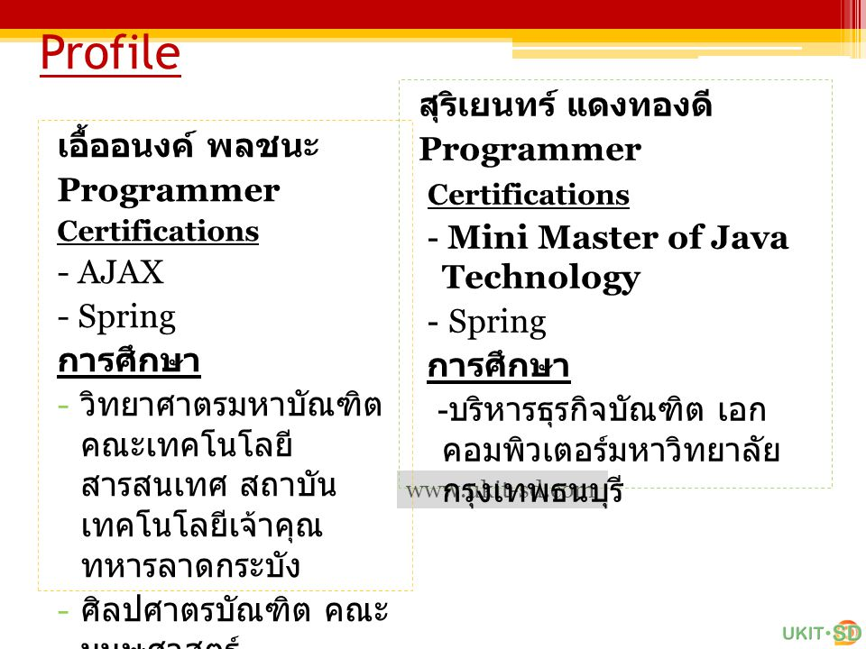 Profile สุริเยนทร์ แดงทองดี Programmer เอื้ออนงค์ พลชนะ Certifications