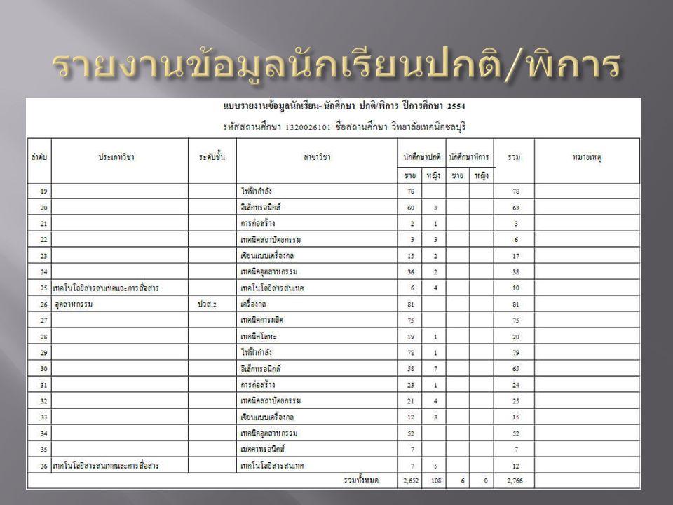 รายงานข้อมูลนักเรียนปกติ/พิการ