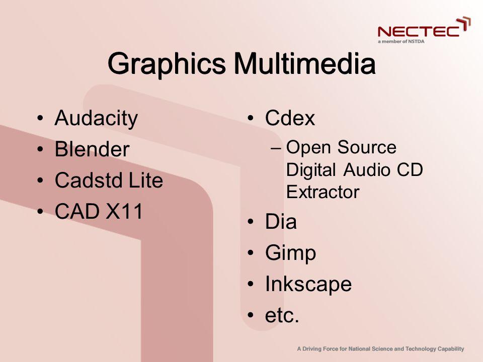 Graphics Multimedia Audacity Blender Cadstd Lite CAD X11 Cdex Dia Gimp