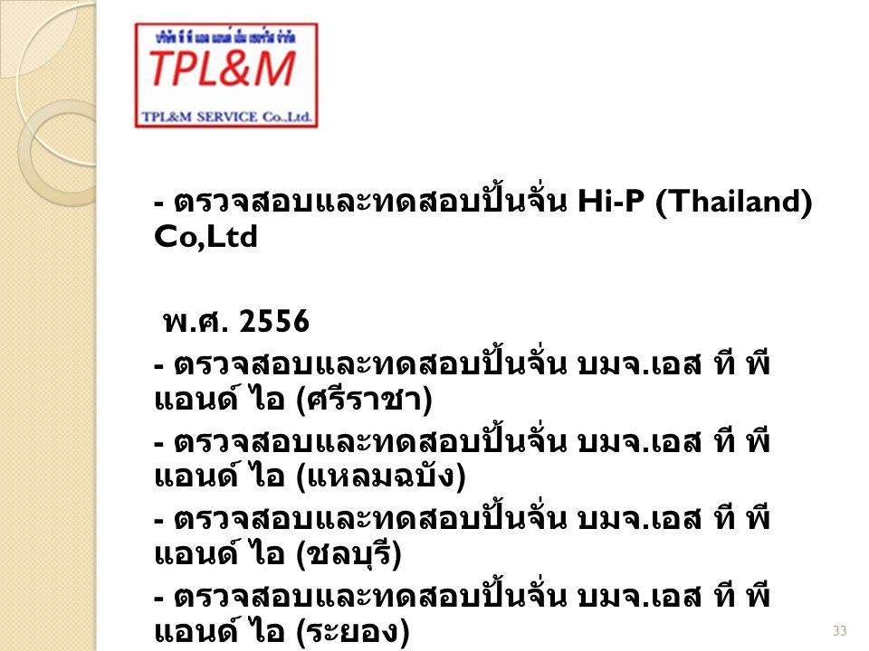 - ตรวจสอบและทดสอบปั้นจั่น Hi-P (Thailand) Co,Ltd