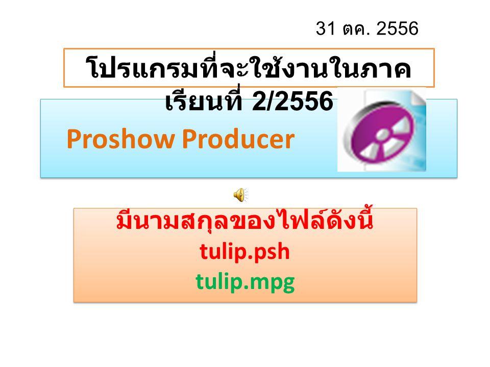 มีนามสกุลของไฟล์ดังนี้ tulip.psh tulip.mpg