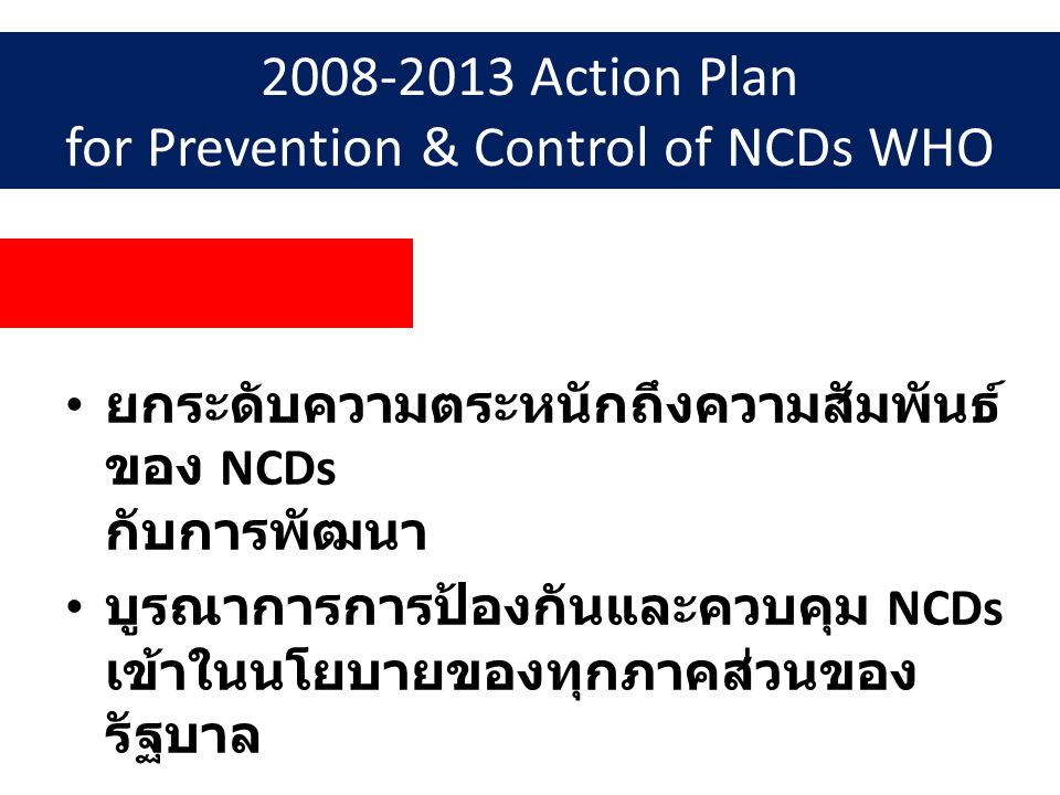 2008-2013 Action Plan for Prevention & Control of NCDs WHO