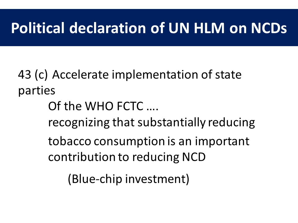 Political declaration of UN HLM on NCDs